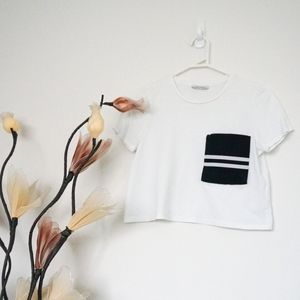 Zara White Crop Stripe Pocket Tee